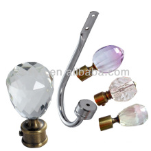 iron decorative curtain rod end caps with crystal decoration