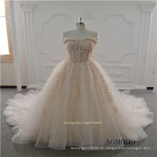 Neues Design-Spitze-Hochzeits-Kleid mit langem Zug 2017