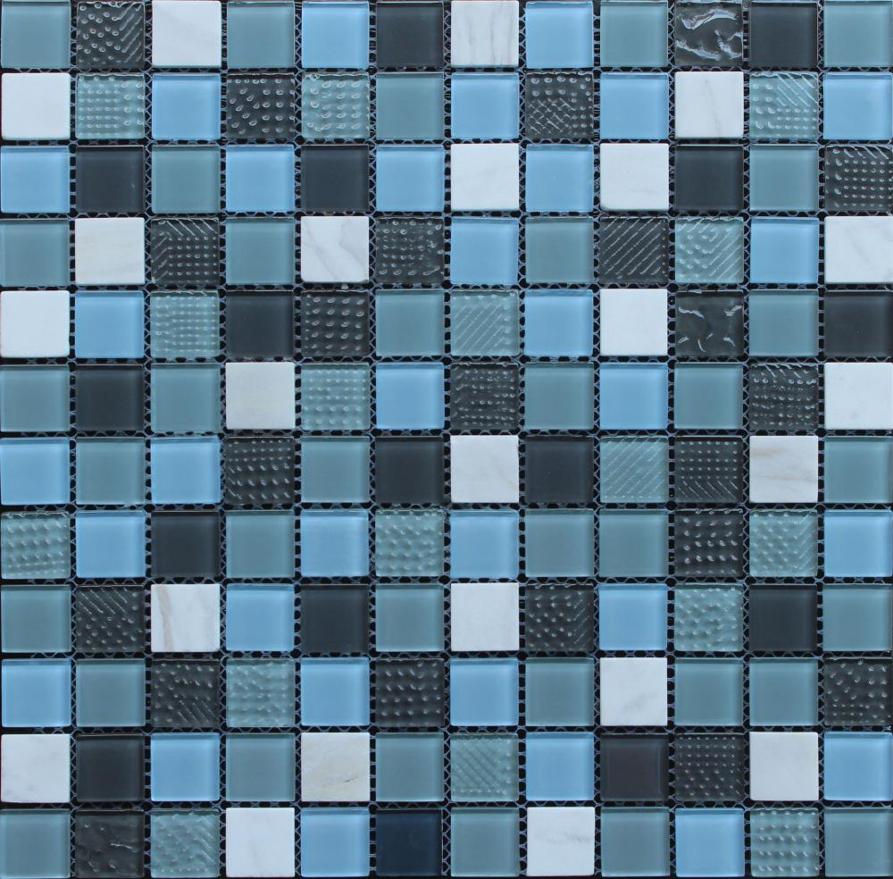 Mixed Stone Blue Crystal Glass Mosaic Tile
