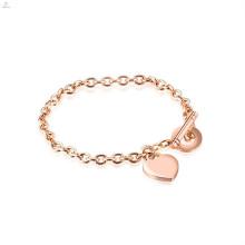 Dubai Diamond Bangle 14 K de aço inoxidável banhado a ouro pulseira de forma de coração