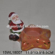 El sostenedor de vela de cerámica superventas 2016 de la decoración de santa de la Navidad