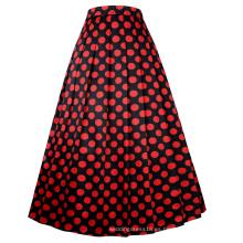 Belle Poque Retro Vintage elástico de cintura de lunares Patrón Swing A-Line falda larga BP000351-1