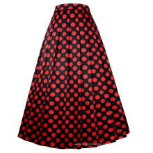 Belle Poque Vintage Retro Elastic Waist Polka Dots Pattern Swing A-Line Long Skirt BP000351-1