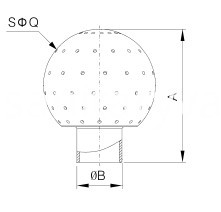 sanitary welded fixed cleaning ball