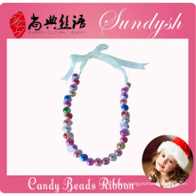 Lovely Handmade Christmas Ribbon Lace Candy Beads Necklace For Kids