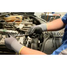 Algodón y Spandex de punto trabajo guante espuma de nitrilo y punteado en la palma (N1614)