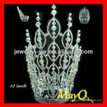 Éblouissant grand grand Ab Cristal Reine couronne pour les concours, la tiare de mariage