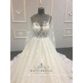 Custom Made Lace Wedding Dress Bridal Gown Golden Crystals Transparent Long Sleeve Bridal Dresses Plus Size Women Dresses