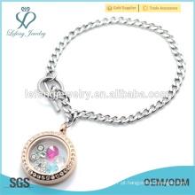 Prata de aço inoxidável cubano cadeia com 316l aço inoxidável rosa pulseira medalha de ouro