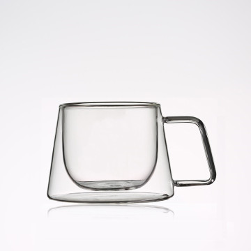 Heat resistant double wall glass coffee mug