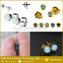 Nuevos diseños 22k oro Stud Earrings Opal Ball Post Earrings Opal Jewelry Earrings Stud