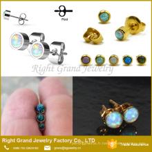 Nouveaux Designs 22k Boucles d'oreilles en or Opal Ball Post boucles d'oreilles Opal Jewelry Boucles d'oreilles Stud