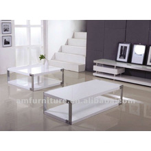 Table basse moderne en MDF de finition blanc brillant