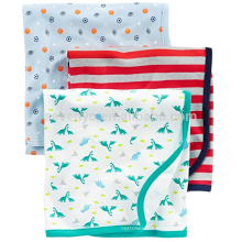 Babys' 3-Pack 100% Cotton Swaddle Blanket/Baby Bath Towel with Large Size 90*90cm,White/Red/Navy,ideal for swaddling or burping