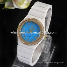 2015 New Design Fashion Blue pink yellow Girls Watch White Ceramic Watch