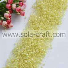 Beautiful yellow 3&8MM acrylic pearl tassel trimming garland with good quality and low price