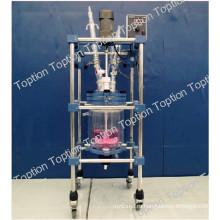 три слоя стеклянный реактор с рубашкой ТТФ -5л с хорошим качеством
