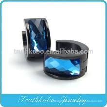 TKB-E0008 Regalo para hombres Aros de forma de anillo de acero inoxidable unisex con piedra azul