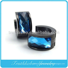 TKB-E0008 Gift for Men Unisex Stainless Steel Ring Shape Hoops with Blue Stone