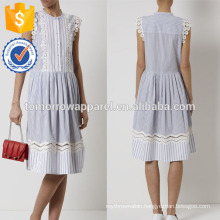 New Fashion Navy And White Striped Summer Dress With Lace Manufacture Wholesale Fashion Women Apparel (TA5286D)