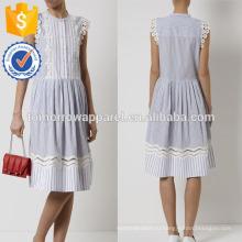 Новая мода военно-морской флот и белый полосатый летнее платье с кружевом Производство Оптовая продажа женской одежды (TA5286D)