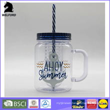 Plastic Mason Jar with Straw