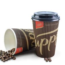 8 Unzen 12 Unzen 16 Unzen Doppelwandige Pappbecher Heiße Pappbecherhülle, benutzerdefinierte Papierkaffeetassenhülle mit Logo, Kaffeebecher