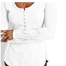 Мода кружева рукавом круглый воротник Slim женщин футболки