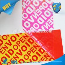 Maßgeschneiderte Druckverpackung Etikettengarantie Aufkleber void wenn geöffnet