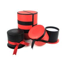 Caja de regalo con pantalla de círculo de joyería con lazo de cinta