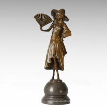 Figura clássica Fan de estátua Senhora Bronze Escultura TPE-326A / B