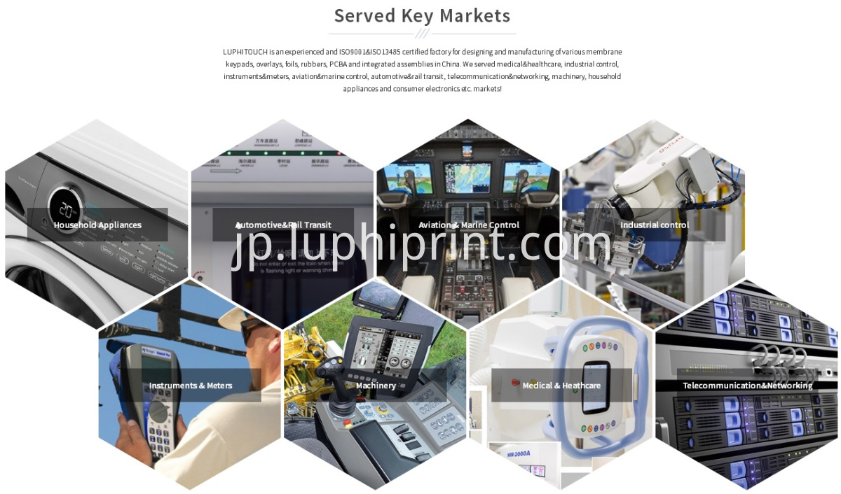 Luphitouch Membrane Switches Served Markets