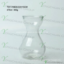 Vase en verre moderne fabriqué à la main / Fabriqué à la main avec une fleur transparente Fleur Chearper Machine Pressed Clear Glass Flower Vase