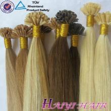 Cheveux humains brésiliens de pointe de clou de Vierge cheveux prébondus prolongés par 100 de cheveux de kératine