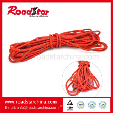 Red color reflective polyester woven lanyard