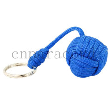 Sky blue paracord monkey fist stainless steel ball and 550 paracord