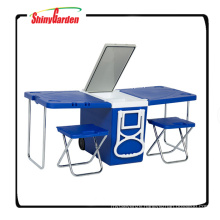 Picnic Camping Rolling Cooler Table With 2 Chairs