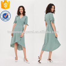 Green Tie Sleeve Wrap Dress OEM/ODM Manufacture Wholesale Fashion Women Apparel (TA7116D)