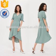 Зеленый галстук рукав обернуть платье OEM и ODM Производство Оптовая продажа женской одежды (TA7116D)