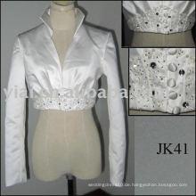JK40 Real Sample Satin Langarm Hochzeit Jacke