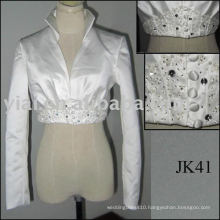 JK40 Real Sample Satin Long Sleeves Wedding jacket