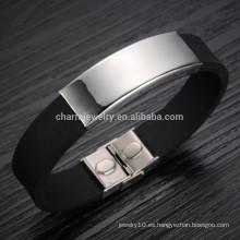2015 nueva versión coreana de la afluencia de pulsera de silicona de titanio de acero de titanio pulsera brazalete de los hombres PH867 suave