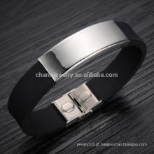 2015 nova versão coreana do influxo de bens de aço de titânio pulseira de silicone bracelete pulseira homens PH867 lisa