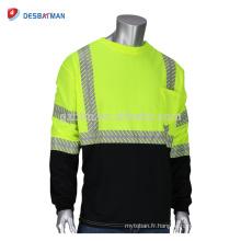 Personnalisé Mens Haute Visibilité T-Shirt De Sécurité Taille Divers Néon Jaune Vert O-Cou Construction Travail T-shirts À Manches Longues