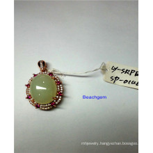 Jewellery-Natural Jade Sterling Silver Pendant (LYP0146)