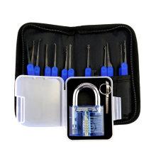 Cadeado Prática Transparente Azul com Saco de Lona 15 PCS Lockpicking Ferramentas Caixa De Silicone Azul (Combo 6-3)