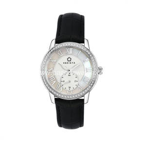 Crystal stainless steel wrist watch
