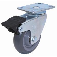 Swivel PU Caster with Dual Brake (Gray)