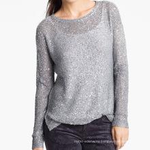 15JWS0516 леди весна лето crewneck пуловер с пайетками