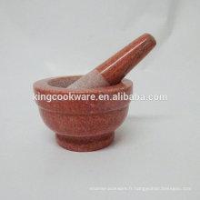 Mortier et pilon en marbre de pierre naturelle rouge 10 * 9cm / broyeur d'herbes / outil à épices